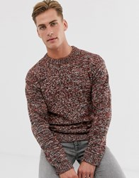 Selected Homme Wool Space Dye Crew Neck Jumper In Red
