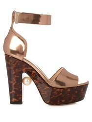 Nicholas Kirkwood Maya Pearl Embellished Block Heeled Sandals Copper