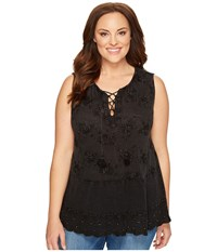 Lucky Brand Plus Size Washed Studded Tank Top Black Women's Sleeveless Multi