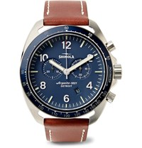 Shinola The Rambler Tachymeter Chronograph 44Mm Stainless Steel And Leather Watch Brown