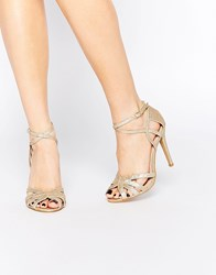 True Decadence Gold Glitter Ankle Strap Heeled Sandals Gold