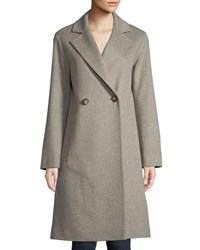 Fleurette Long Double Breasted Wool Coat Oatmeal