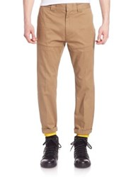 Moncler Solid Cotton Blend Pants Brown