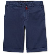 Isaia Stretch Cotton Twill Shorts Navy
