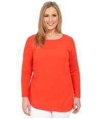 Vince Camuto Plus Size Long Sleeve Top W Asymetrical Overlay Pimento Women's Blouse Red