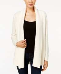 Charter Club Petite Shawl Collar Textured Open Front Cardigan Only At Macy's Vintage Cream