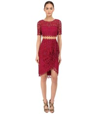 Marchesa Short Sleeve Re Embroidered Lace Cocktail With Draped Skirt And Sheer Waist Magenta