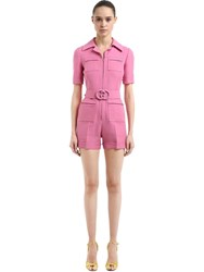 Gucci Wool And Silk Crepe Cady Romper W Gg Belt Pink