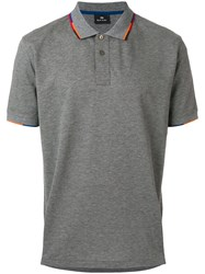 Paul Smith Ps By Contrast Trim Collar Polo Shirt Grey
