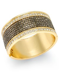 Thalia Sodi Gold Tone Crystal Hinged Bangle Bracelet Only At Macy's Gold Grey