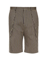 Tomorrowland Striped Cotton Gabardine Shorts Navy White