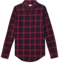 Saint Laurent Checked Cotton Blend Flannel Shirt Red
