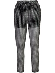 Red Valentino Polka Dot Trousers Silk Polyester Black