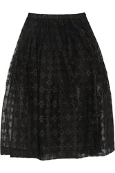 Simone Rocha Metallic Embroidered Tulle Midi Skirt Black