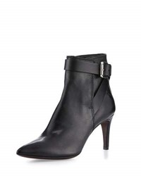 Cnc Costume National Pointed Toe Leather Ankle Bootie Black