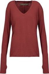 Enza Costa Cotton And Cashmere Blend Sweater Burgundy