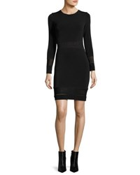 Alice Olivia Madie Mesh Panel Fitted Dress Black