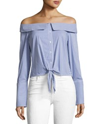 Romeo And Juliet Couture Off The Shoulder Striped Poplin Blouse Blue White