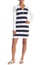 Tommy Bahama Thera Stripe Half Zip Dress Ocean Deep