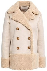 Mother Double Breasted Faux Shearling Coat Cream