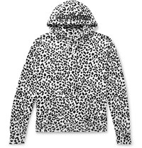Noon Goons Leopard Print Fleece Back Cotton Jersey Hoodie White