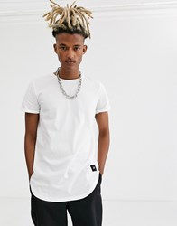 Sixth June Longline Curved Hem T Shirt In White