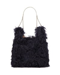 Hayward Furry Mini Shopper On A Chain Tote Bag Navy