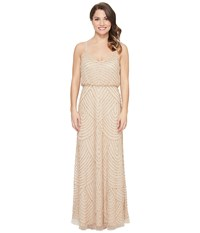 Adrianna Papell Petite Long Beaded Blousson Slip Dress Champ Gold Women's Dress Beige