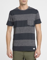 Element Grey And Navy Austin Striped Chest Pocket T Shirt Blue