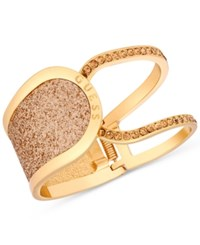 Guess Gold Tone Glitter In Stone Hinged Openwork Bangle Bracelet