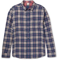 Faherty Reversible Checked Cotton Flannel Shirt Navy