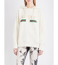 Gucci Blind For Love Cotton Jersey Hoody Natural White Prt Mult