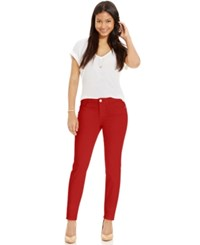 Celebrity Pink Jeans Juniors' Skinny Jeans Colored Wash Burnt Red