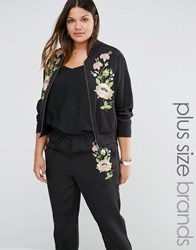Alice And You Floral Embroidered Bomber Black