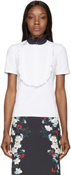 Erdem White And Navy Ruffled Deacon Top