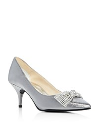 Caparros E Bow Embellished Metallic Pointed Toe Pumps Pewter