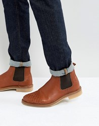 Asos Chelsea Boots With Weave Detail In Tan Leather Tan