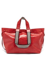 Isabel Marant Wardy Leather Shopper Bag Red Multi
