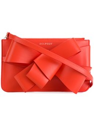 Delpozo Bow Detail Clutch Red