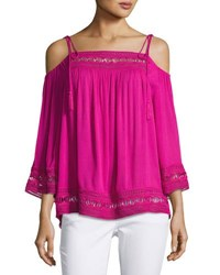 Laundry By Shelli Segal Cold Shoulder Lace Trim Gauze Blouse Bright Pink