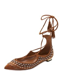 Aquazzura Christy Folk Suede Ankle Wrap Flat Cognac