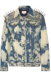 Gucci Oversized Embellished Bleached Denim Jacket Mid Denim