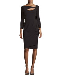 La Petite Robe Di Chiara Boni Nuria 3 4 Sleeve Yoke Cutout Cocktail Dress Women's Size 10 Nero