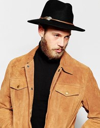 Asos Leather Hat Band With Wing Pendant In Brown Brown