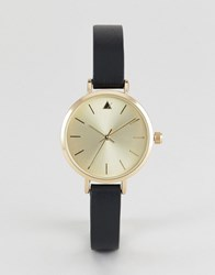 Asos Premium Engraved Case Leather Watch Black