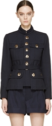Marc Jacobs Navy Twill Belted Military Jacket