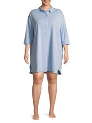 Lord And Taylor Plus Spread Collar Cotton Sleepshirt Morning Sky