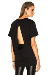 Ann Demeulemeester Sheer Open Back Tee In Black