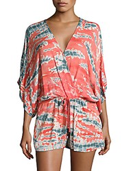 Young Fabulous And Broke Maddie Printed Tie Front Jumpsuit Pink Multicolor