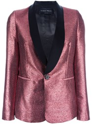 Christian Pellizzari Glittery Shawl Lapel Blazer Pink Purple